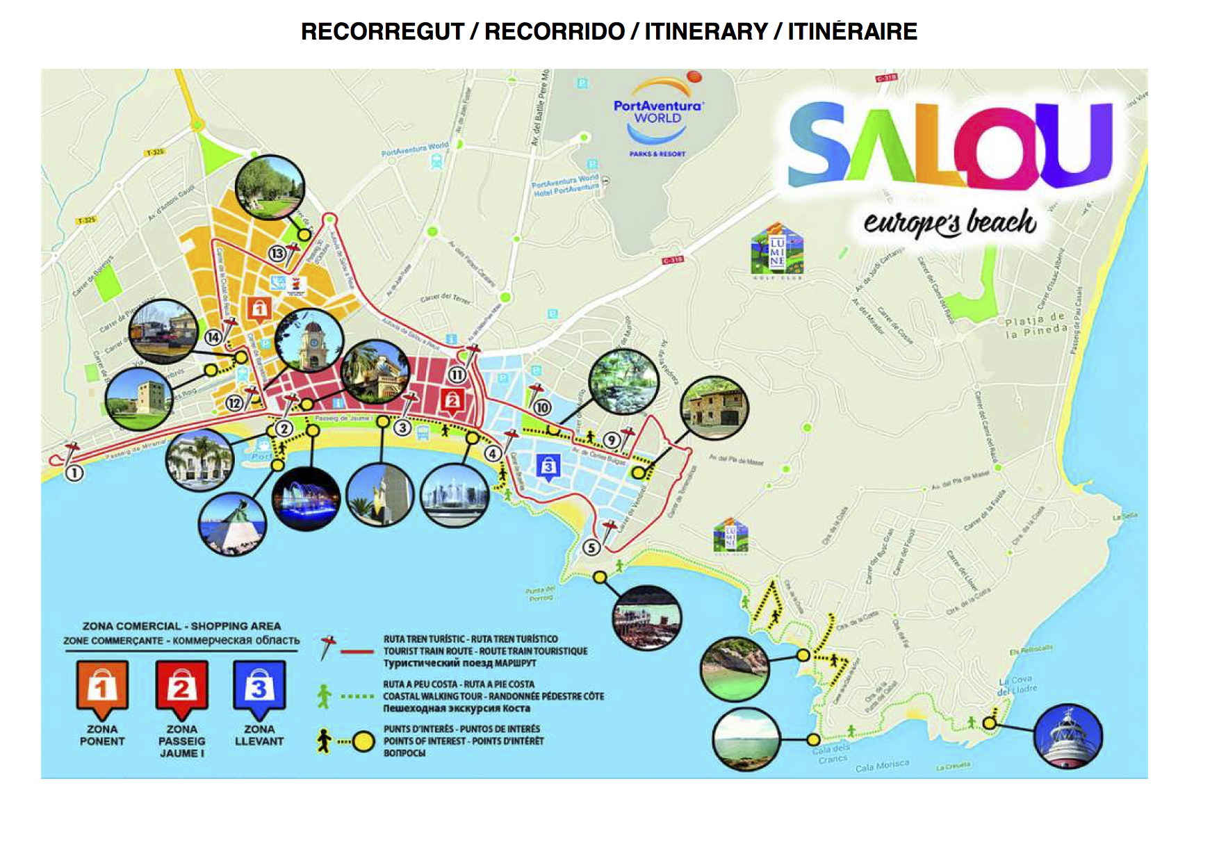 Map Of Spain Showing Salou.Live A Great Experience With The Renovated Tourist Train Of Salou