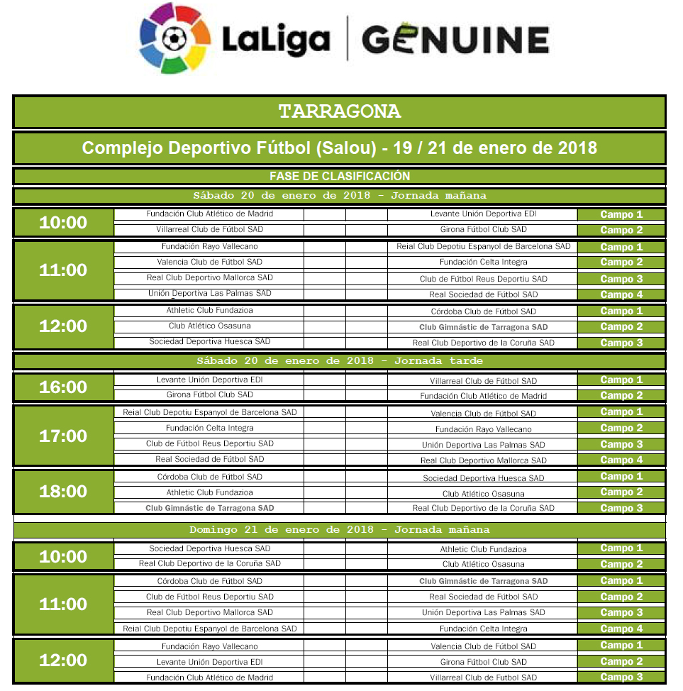 LaLiga Genuine (horaris) FINAL