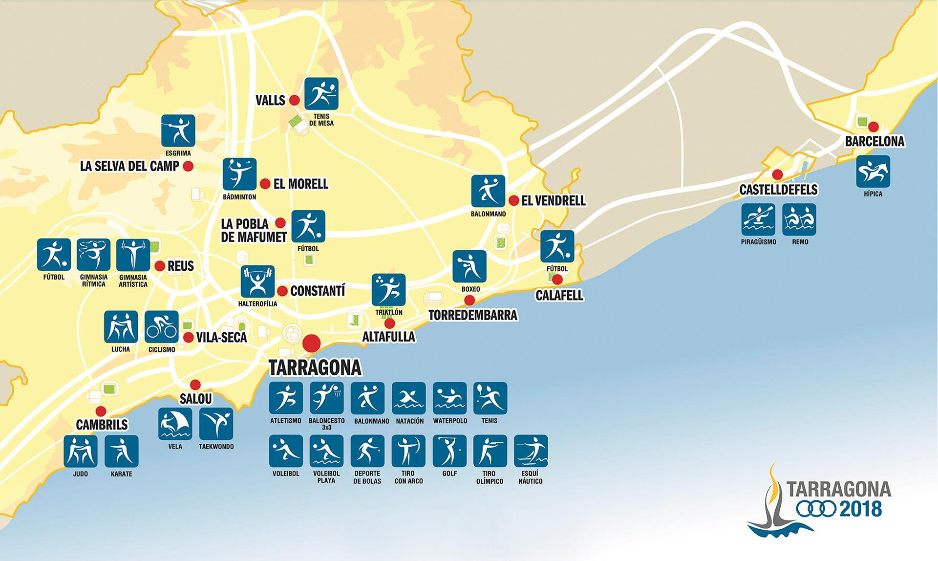 Jocs Tarragona 2018 (mapa seus)
